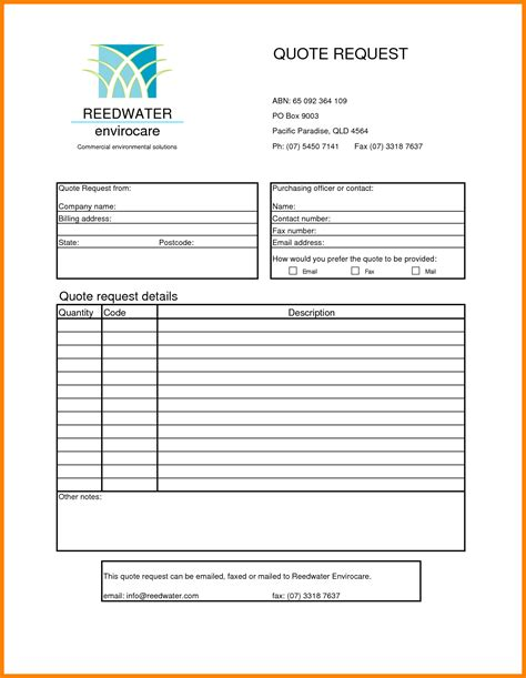 rfq form template request for quote