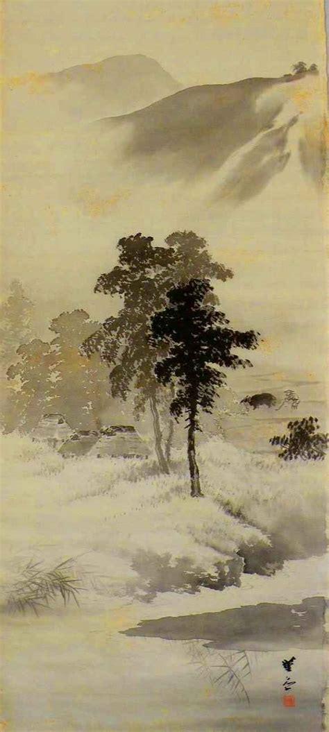 japanese landscape painting tokonoma scrolls