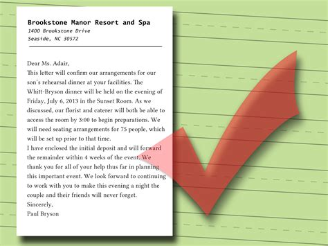 write  confirmation letter  sample letters