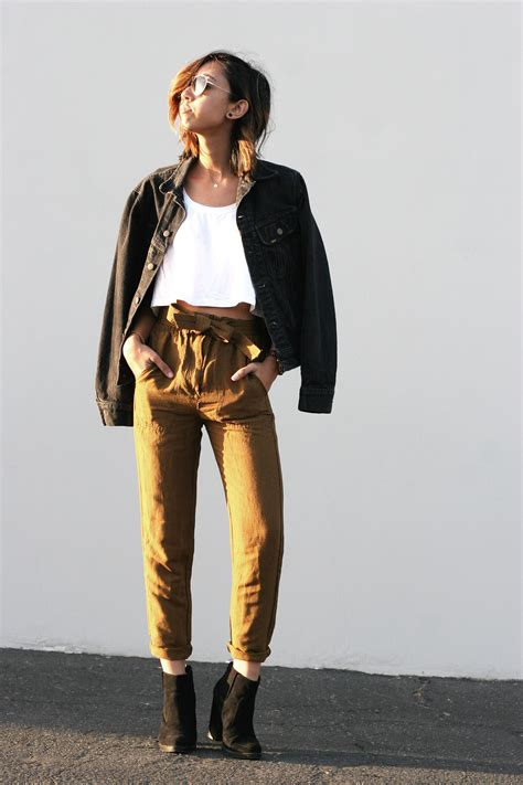J6019 Khaki Blazer Keren fall s fave the paper bag waist trousers