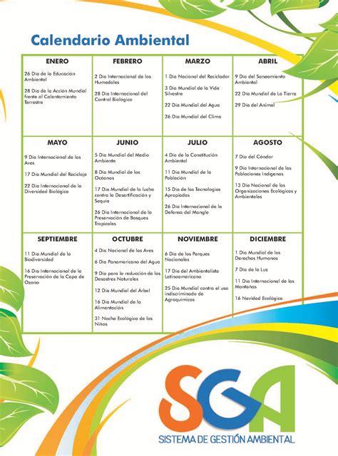 Sistema De Calendario Sistema De Gesti 243 N Ambiental Universidad Nacional De Colombia