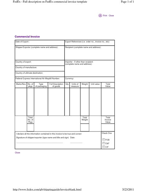 Commercial Invoice Template Fedex Invoice Template Ideas Fedex Commercial Invoice Template