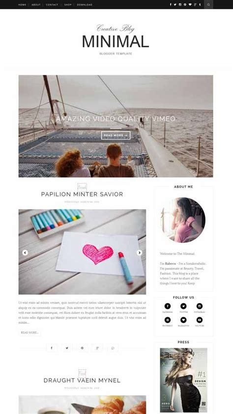 minimal free responsive blogger template feito quintal