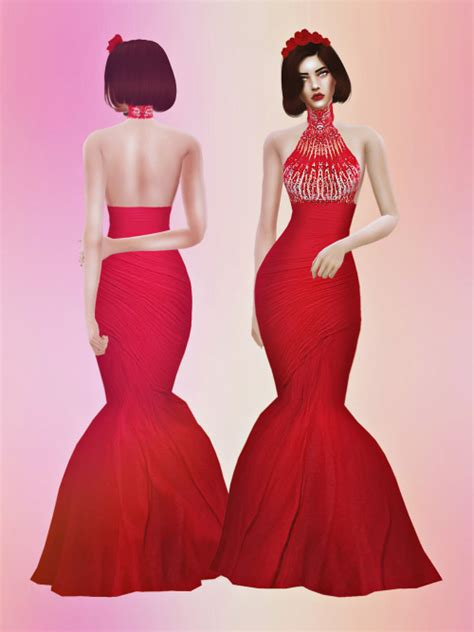 sims 4 royalty dresses zm crimson gown at fashion royalty sims 187 sims 4 updates