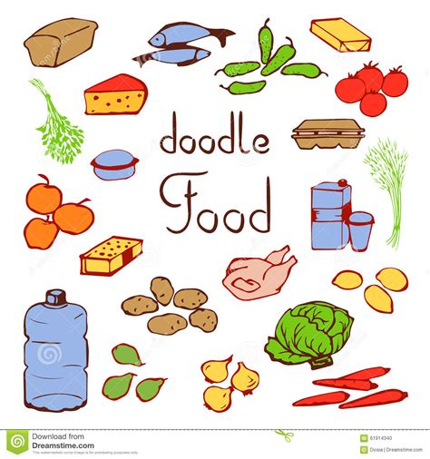 food doodle pens set various products daily nutrition stock photo image