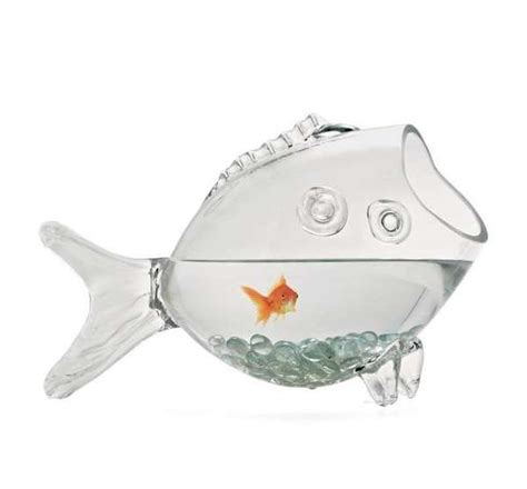 Fish Shaped Fish Bowl by Self Referential Fish Habitats Glass Fish Bowl