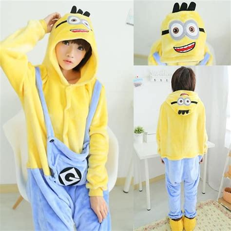 Minion Piyama wholesale mascot despicable me minion winter sleepwear hoodie pajamas minion onesie