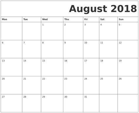 printable free calendar 2018 august 2018 free printable calendar
