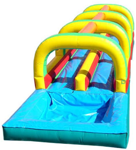 double slide way commercial inflatable slide rental bouncer slide pvc rent dual lane slip n slide inflatable with splash pool