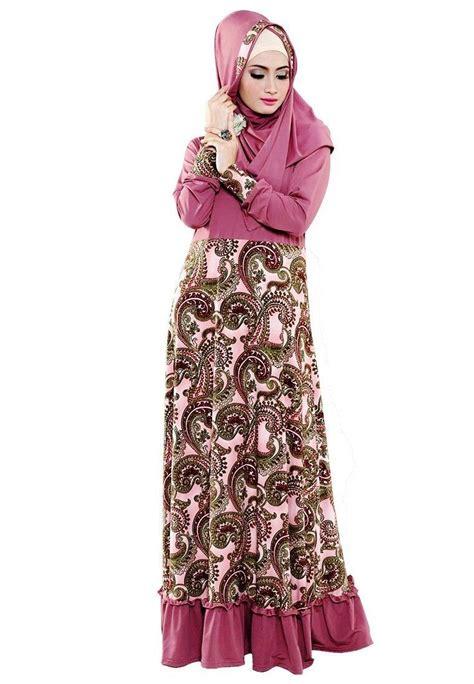Contoh Desain Gamis Batik | 14 koleksi baju gamis batik kombinasi modern lengkap 2017