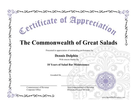 Open Office Certificate Templates certificate of appreciation openoffice template