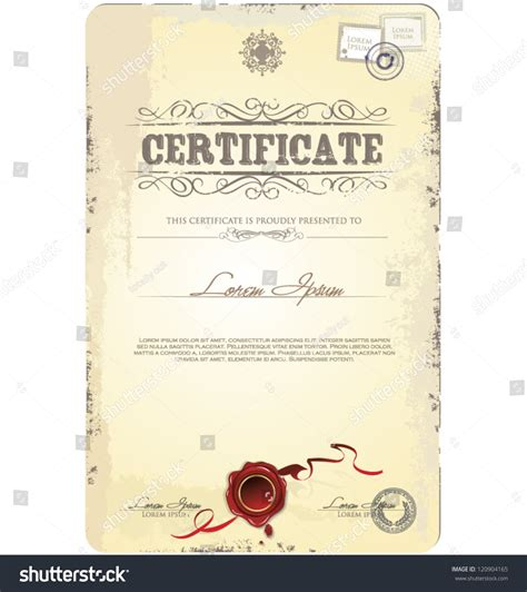 old vintage certificate template vector illustration