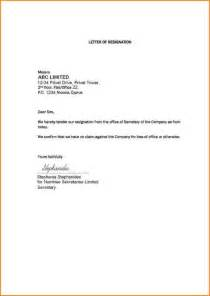 Simple Format Of Resignation Letter Sle by 5 Sle Basic Resignation Letter Receipts Template