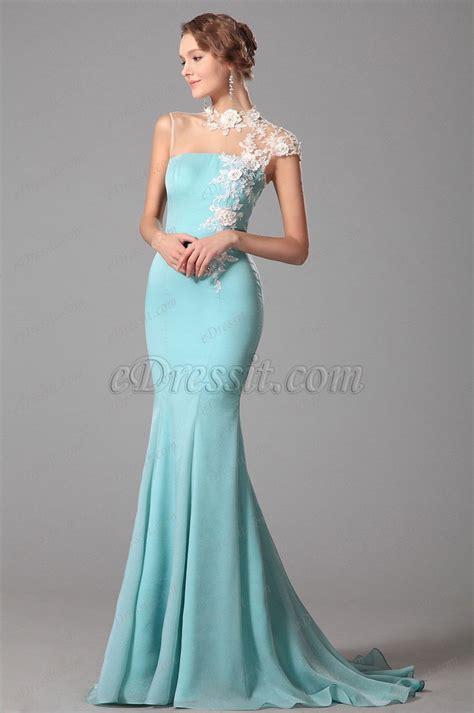 light blue evening dress http edressit com trumpet lace neck light