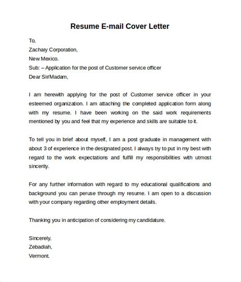 Resume And Cover Letter E Mail Email Cover Letter 7 Free Sles Exles Formats