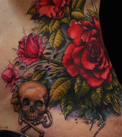 crossed keys tattoo a stunning of roses and a skull with crossed