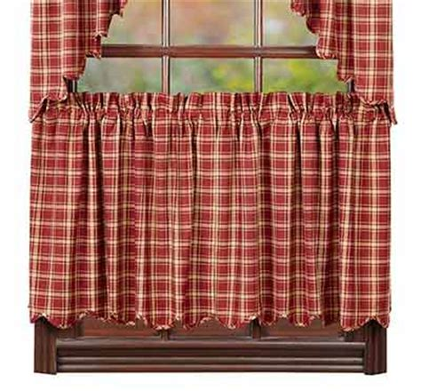 plaid cafe curtains kendrick 24 inch tiers by nancy s nook the weed patch