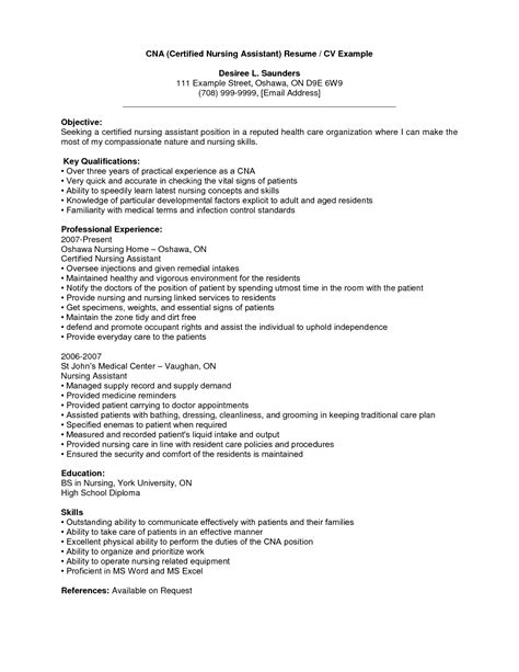 resume exles for nursing assistant cna resume no experience template learnhowtoloseweight net