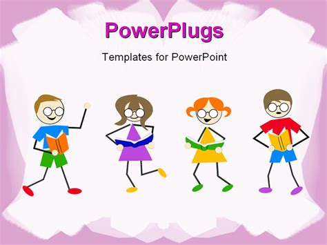 Powerpoint Template Little Kids Dancing And Reading Book On White Background With Pink Frames Children S Book Powerpoint Template