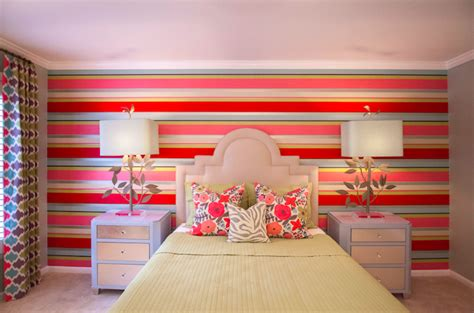 colorful bedroom wall designs striped accent wall contemporary girl s room lucy
