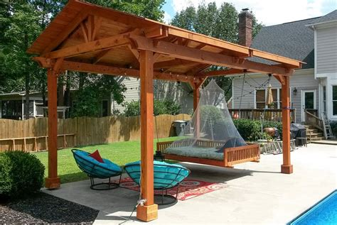 Covered pergolas made of pure redwood.   Outdoor ideas