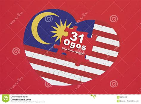 kemerdekaan malaysia 2016 heart shape malaysia flag jigsaw puzzle with a written