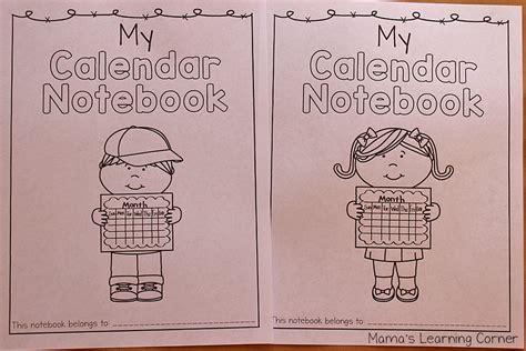 Calendar Notebook Kindergarten Grade Calendar Notebook Mamas