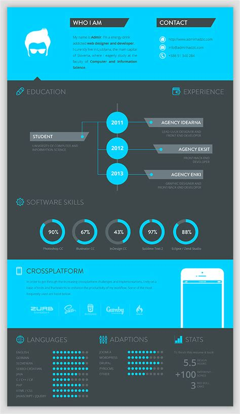 30 Exles Of Creative Graphic Design Resumes Infographics Creative Graphic Design Layout Templates