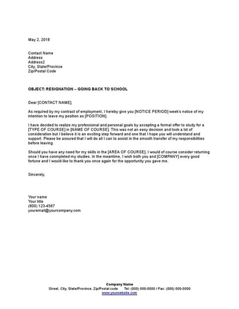 sample resignation letter school template