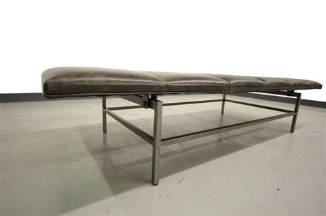 stainless steel benches channeled leather and stainless steel bench at 1stdibs