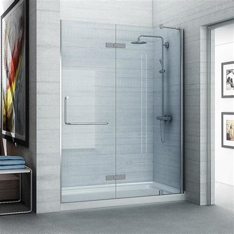Ove Shower Door Shop Ove Decors Shelby 58 25 In To 58 75 In Frameless Polished Chrome Hinged Shower Door At