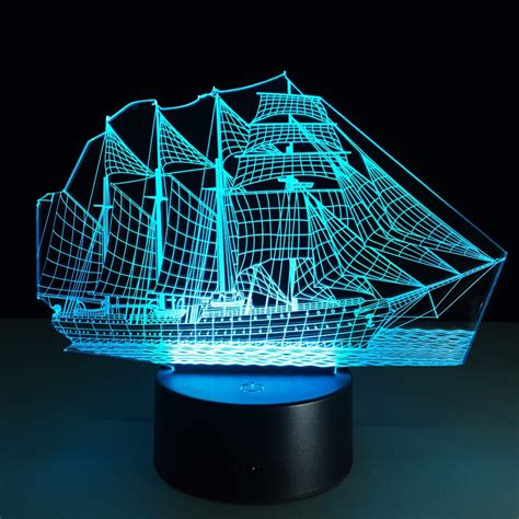 led christmas night lights creative sailing boat usb 3d led lights colorful touch