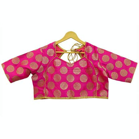 Floral Brocade Blouse buy pink and golden floral silk brocade blouse 30115