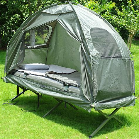 outdoor  person folding tent elevated camping  wair