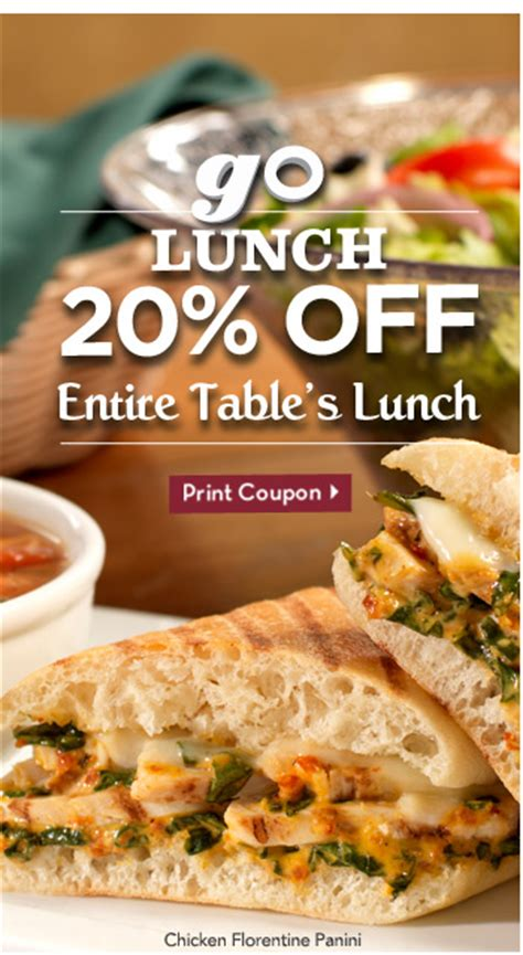 Olive Garden Lunch Coupon by Olive Garden Coupon 20 Entire Table S Lunch