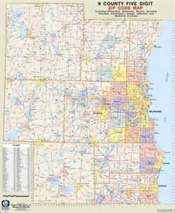 southeast zip code map themapstore southeastern wisconsin 9 county zip code