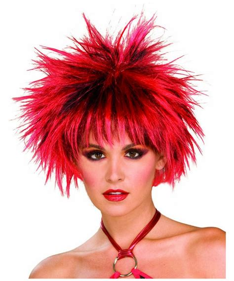 spiked wigs 80s spiked wig red and black adult wig halloween wig