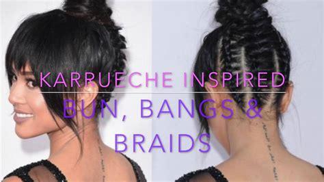 cornrows braided bun with a bang karrueche inspired bun bangs braids protective style