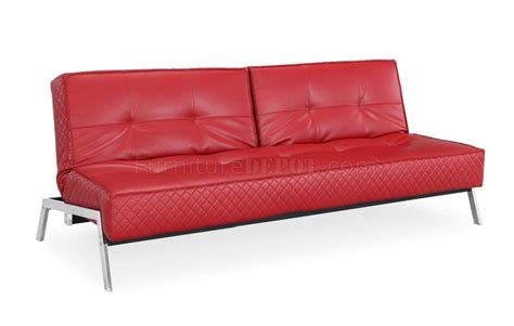 red leather sofa bed red bonded leather modern convertible sofa bed w chrome legs