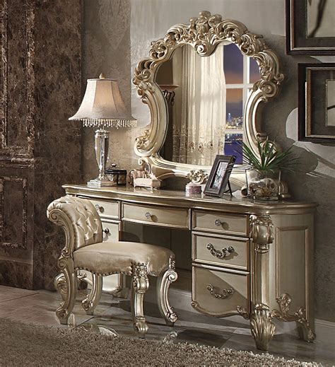 Patina Chandelier 3 Piece Vendome Gold Patina Vanity Set With Stool By Acme