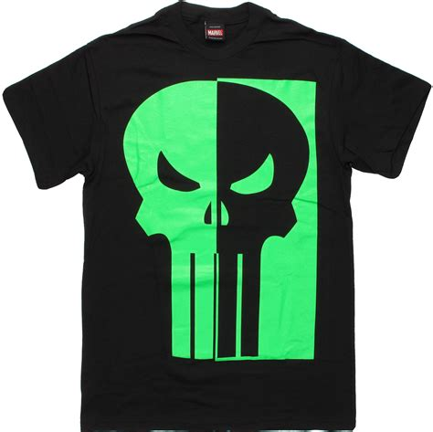 T Shirt Punisher Logo punisher half green glow logo t shirt