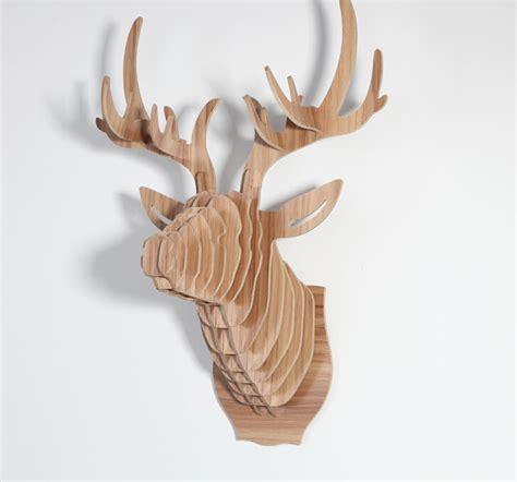 size wooden deer wall