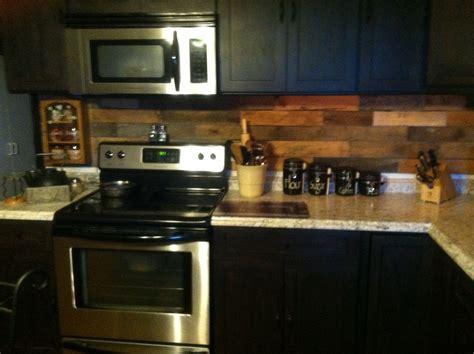 wood kitchen backsplash pallet backsplash in our old farm house kitchen