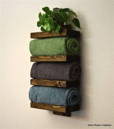 Wooden Towel Shelf by Rustic Wood Bathroom Towel Rack 4 Tier Shelf Walnut Finish On Etsy 65 00 Cabin