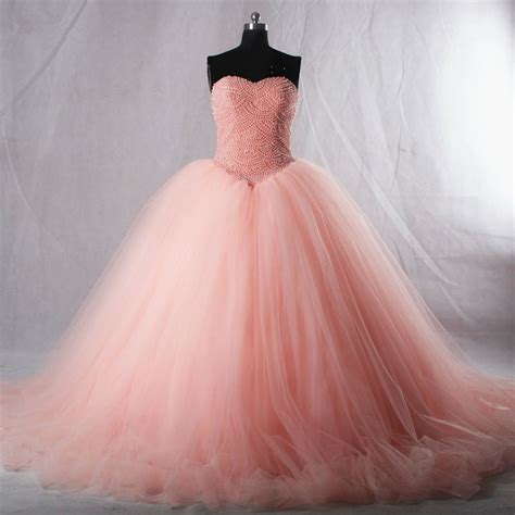 Dress Pearl Hotpink pink strapless quincea 241 era dress with pearl beaded