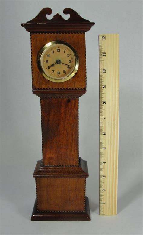 Handmade Grandfather Clock - antique handmade folk miniature mahogany