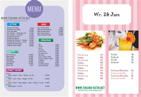 desain daftar menu sederhana download 10 desain menu makanan minuman gratis format