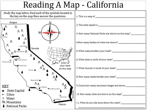 printable map skills worksheets middle school empowered by them california map lesson