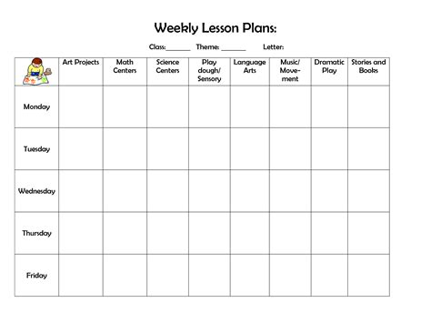 printable weekly lesson plan pages infant blank lesson plan sheets weekly lesson plan doc