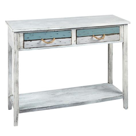 distressed sofa table with drawers 2 drawer distressed console table christmas tree shops